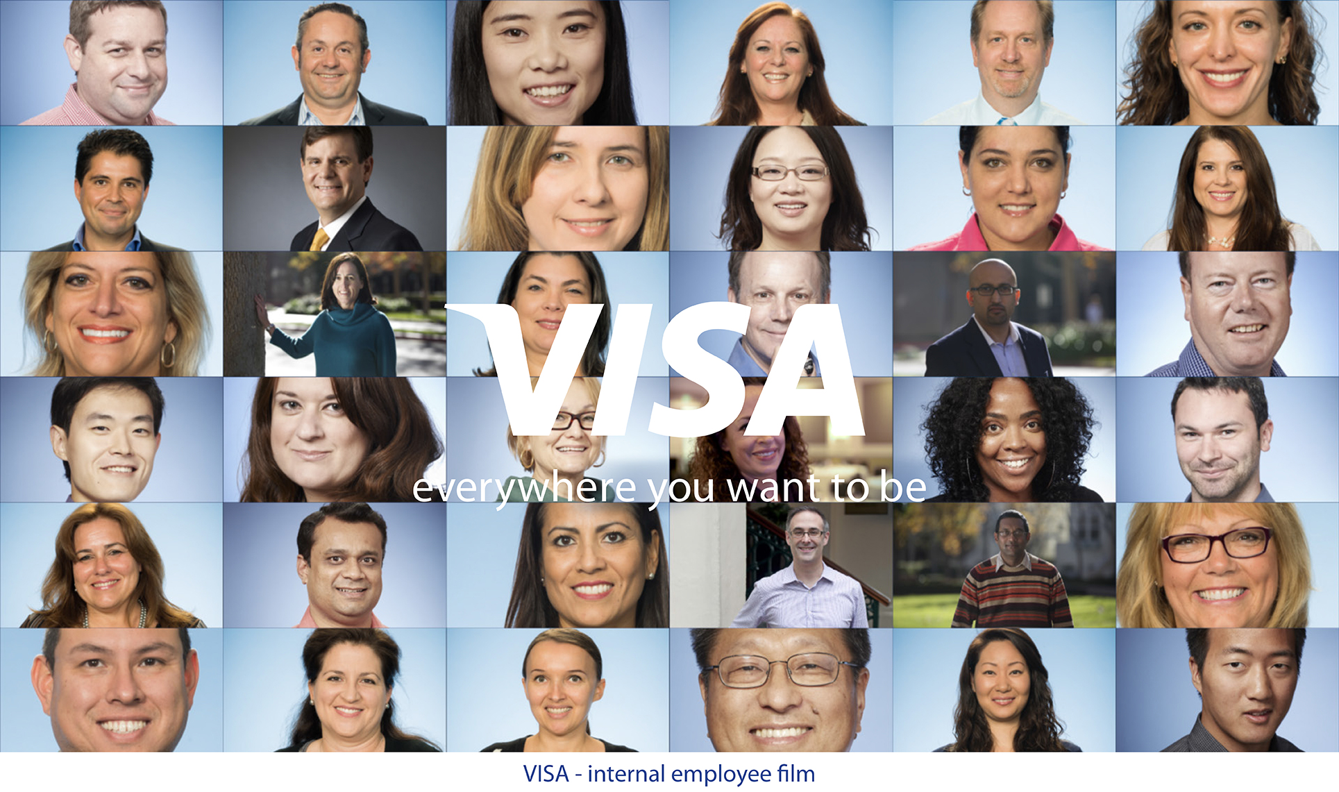 A collage of smiling portraits and a white Visa logo overlaid in the center.