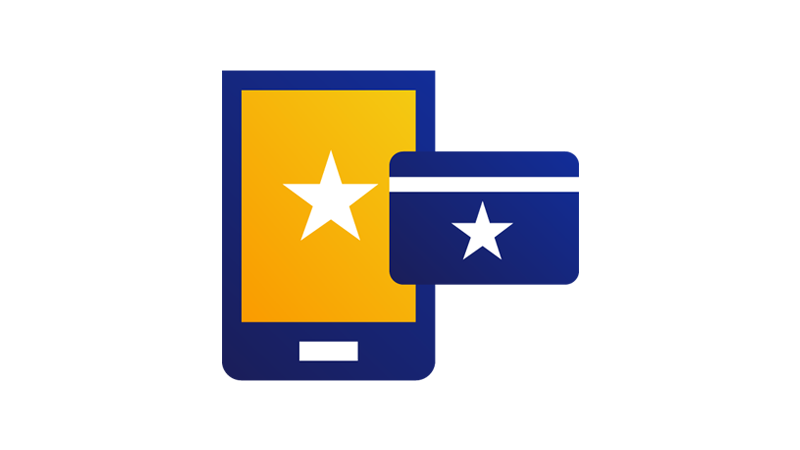 A mobile device with a star on its screen next to a credit card with a star on it.