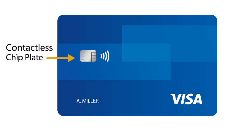 Front of Visa chip-enabled credit card with arrow pointing to the chip plate.