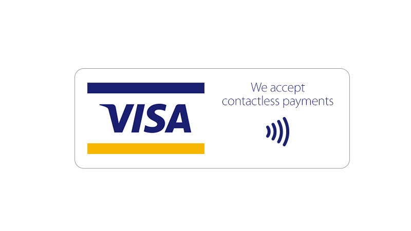 "Left to right: Full-color POS Graphic followed by text ""We accept contactless payments"" with contactless indicator logo under text."
